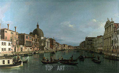Venice: The Grand Canal with S. Simeone Piccolo, c.1738 | Canaletto| Painting Reproduction