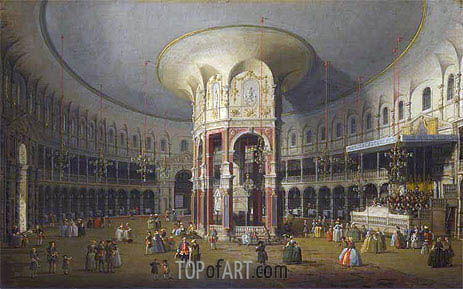 London: Interior of the Rotunda at Ranelagh, 1754 | Canaletto| Painting Reproduction