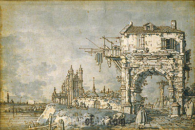 Canaletto | An Imaginary View with a Triumphal Arch, c.1755
