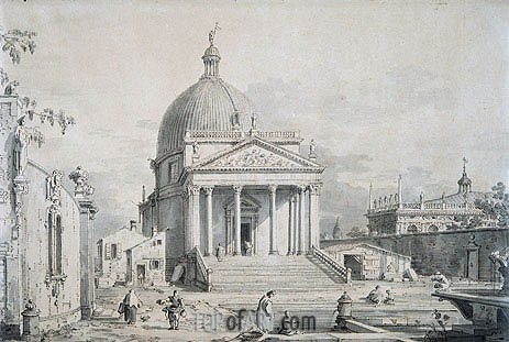 Canaletto | Veduta Ideata with San Simone Piccolo, c.1735