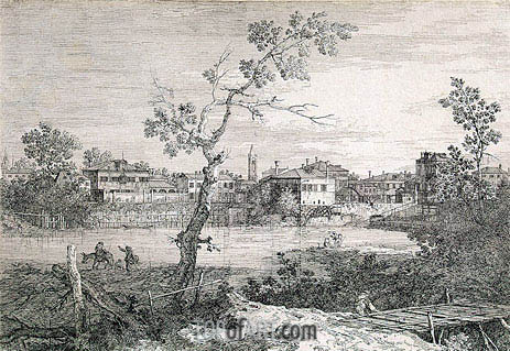 Capriccio with a View of Dolo, undated | Canaletto| Painting Reproduction
