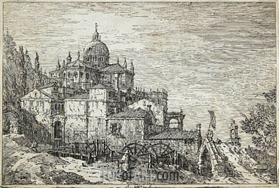 Landscape with a Church, Houses and a Mill, undated | Canaletto| Painting Reproduction