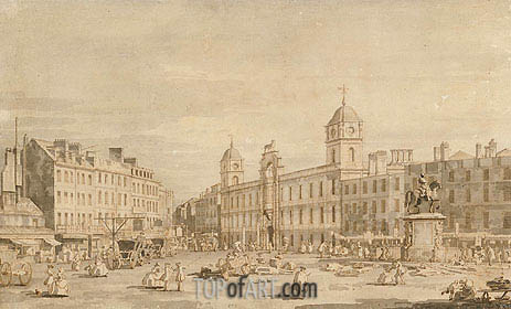View of Northumberland House and Charing Cross, c.1752 | Canaletto| Painting Reproduction