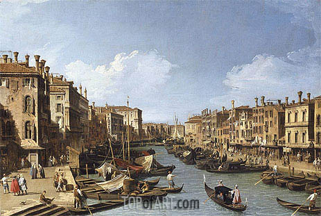 The Grand Canal near the Rialto Bridge, Venice, c.1730 | Canaletto | Painting Reproduction