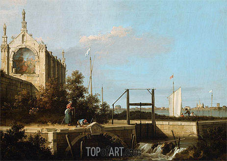 Canaletto | Capriccio: A Sluice on a River with a Chapel, 1754