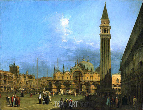 Venice: Piazza St. Marco with the Basilica and Campanile, c.1725 | Canaletto| Painting Reproduction