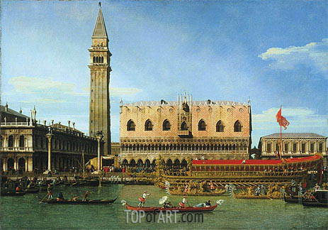 The Bucintoro at the Molo on Ascension Day, c.1745 | Canaletto | Gemälde Reproduktion