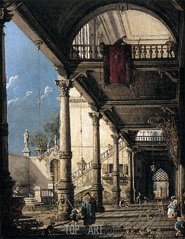 Capriccio with Colonnade in the Interior of a Palace, c.1765 | Canaletto| Painting Reproduction