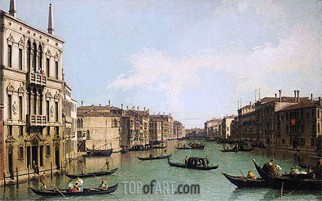 Venice: the Grand Canal Looking North-East from Palazzo Balbi to the Rialto Bridge, c.1742 | Canaletto| Painting Reproduction