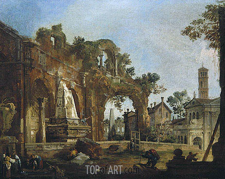 Canaletto | Rome: A Caprice View with Ruins Based on the Forum, c.1726
