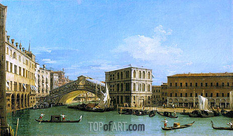 The Rialto Bridge from the North, c.1726/27 | Canaletto| Gemälde Reproduktion