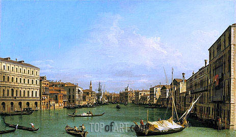 Grand Canal Looking South from Ca' Foscari to the Carita, c.1726/27 | Canaletto| Painting Reproduction