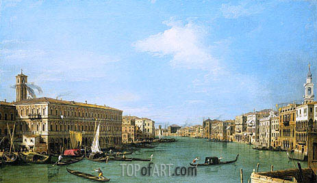The Grand Canal Looking North-West from near the Rialto, c.1726/27 | Canaletto| Painting Reproduction