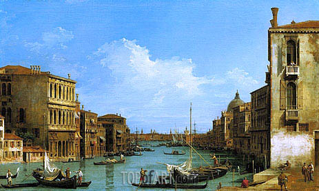 The Grand Canal Looking East from Campo San Vio towards the Bacino, c.1727/28 | Canaletto| Painting Reproduction