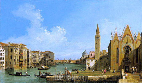 The Grand Canal Looking East from the Carita towards the Bacino, c.1727/28 | Canaletto| Painting Reproduction