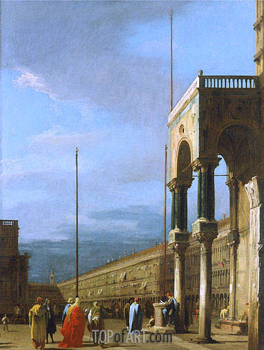 Venice: Piazza San Marco from a Corner of the Basilica, c.1726/28 | Canaletto| Gemälde Reproduktion