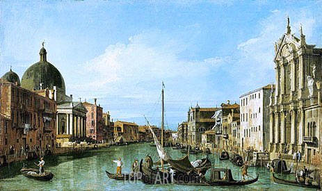 The Grand Canal Looking West with the Scalzi and San Simeon Piccolo, c.1726/27 | Canaletto | Painting Reproduction