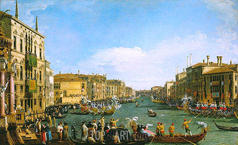 A Regatta on the Grand Canal, c.1733/34 | Canaletto| Painting Reproduction