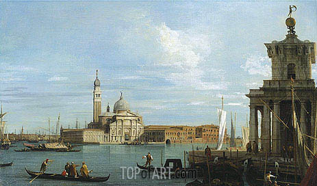 Venice: The Molo towards the Dogana and St. Maria della Salute, c.1735 | Canaletto| Painting Reproduction
