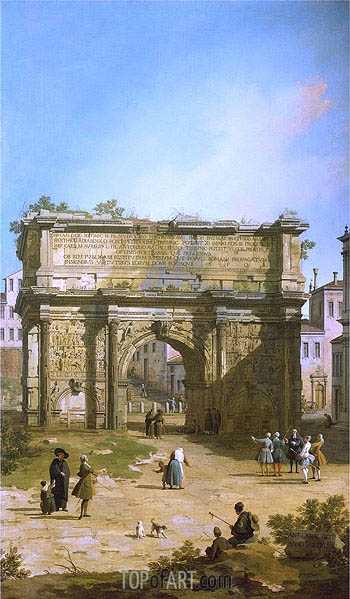 Rome: The Arch of Septimus Severus, 1742 | Canaletto| Painting Reproduction