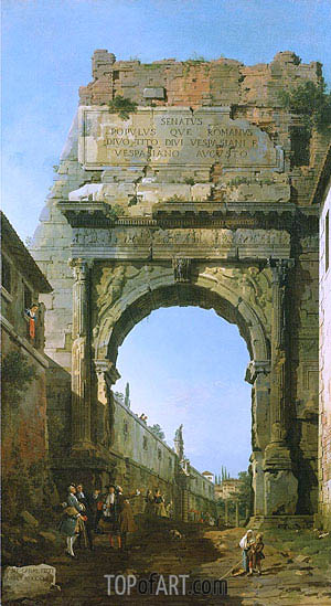 Rome: The Arch of Titus, 1742 | Canaletto| Gemälde Reproduktion