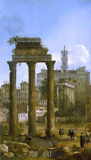 Canaletto | Rome: The Ruins of the Forum looking towards the Capitol, 1742