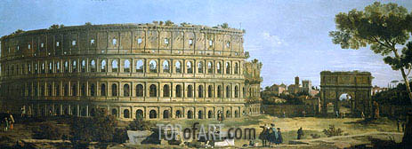 Rome: View of the Colosseum and the Arch of Constantine, 1743 | Canaletto| Painting Reproduction