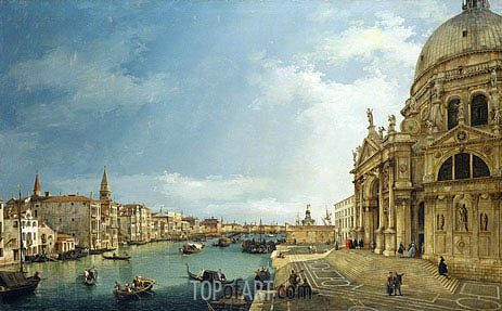 The Grand Canal with St. Maria della Salute towards the Riva degli Schiavoni, 1744 | Canaletto| Painting Reproduction