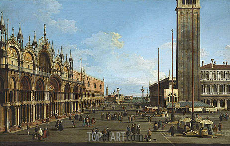 Canaletto | Venice: The Piazza and Piazzetta from the Torre dell'Orologio towards St. Giorgio, 1744