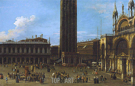 Venice: The Piazza from the Piazzetta with the Campanile and Side of St. Marco, 1744 | Canaletto| Gemälde Reproduktion