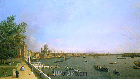 Canaletto | London: The Thames from Somerset House Terrace towards the City, c.1746/50