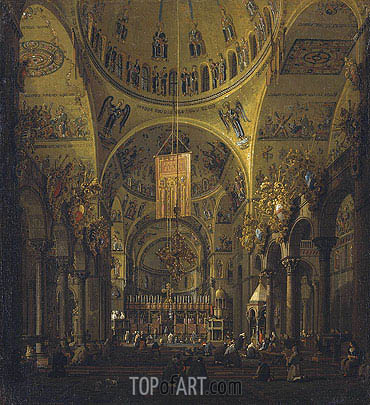 Venice: The Interior of St. Marco by Day, c.1755/56 | Canaletto| Gemälde Reproduktion