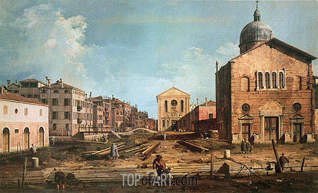Campo San Giuseppe di Castello and the Chiesa San Niccolo di Castello, c.1735/40 | Canaletto | Painting Reproduction