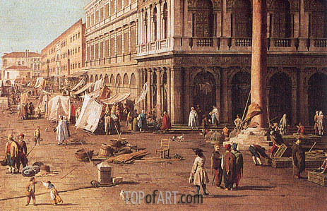 Molo with the Library, Looking Towards the Zecca (Detail), b.1740 | Canaletto| Painting Reproduction