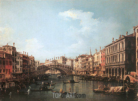 Rialto Bridge from the South, c.1735/40 | Canaletto | Painting Reproduction