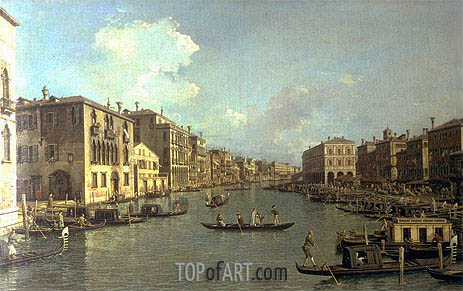 Grand Canal from the Campo Santa Sofia towards the Rialto Bridge, c.1758 | Canaletto| Painting Reproduction