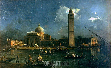 Night Time Celebration Outside the Church of San Pietro di Castello, c.1758 | Canaletto | Gemälde Reproduktion