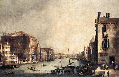 Grand Canal: Looking East from the Campo San Vio, c.1725 | Canaletto| Painting Reproduction