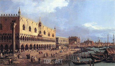 Riva degli Schiavoni: Looking East, 1730 | Canaletto| Painting Reproduction