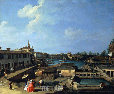 Dolo on the Brenta, c.1720/42 | Canaletto | Painting Reproduction