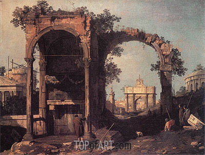 Capriccio: Ruins and Classic Buildings, c.1730 | Canaletto | Painting Reproduction