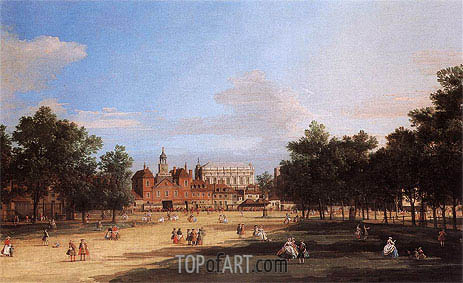 Canaletto | London: the Old Horse Guards and Banqueting Hall from St James's Park, 1749