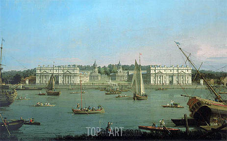 Greenwich Hospital from the North Bank of the Thames, c.1752 | Canaletto| Gemälde Reproduktion