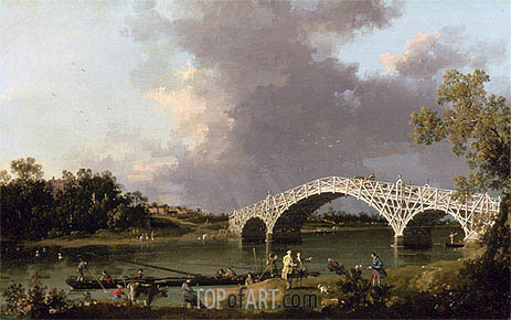 Old Walton Bridge over the Thames, 1754 | Canaletto| Painting Reproduction
