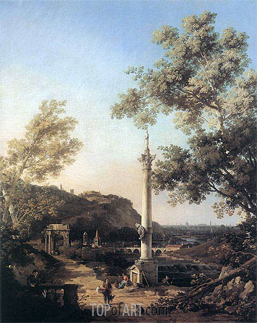 English Landscape Capriccio with a Column, c.1754 | Canaletto | Painting Reproduction