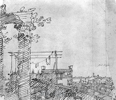 A View of Roofs: Landscape Sketch, c.1740 | Canaletto | Painting Reproduction