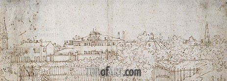 Canaletto | A Panorama of a Village: Sketch of a Building, c.1742