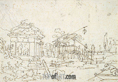 Canaletto | A Water Wheel: Studies of Roofs, undated