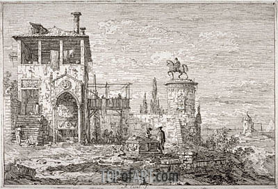The Equestrian Monument, undated | Canaletto | Painting Reproduction