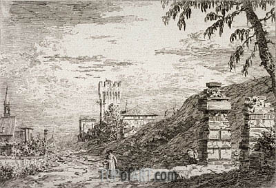 Landscape with Tower and Two Ruined Pillars, undated | Canaletto | Gemälde Reproduktion